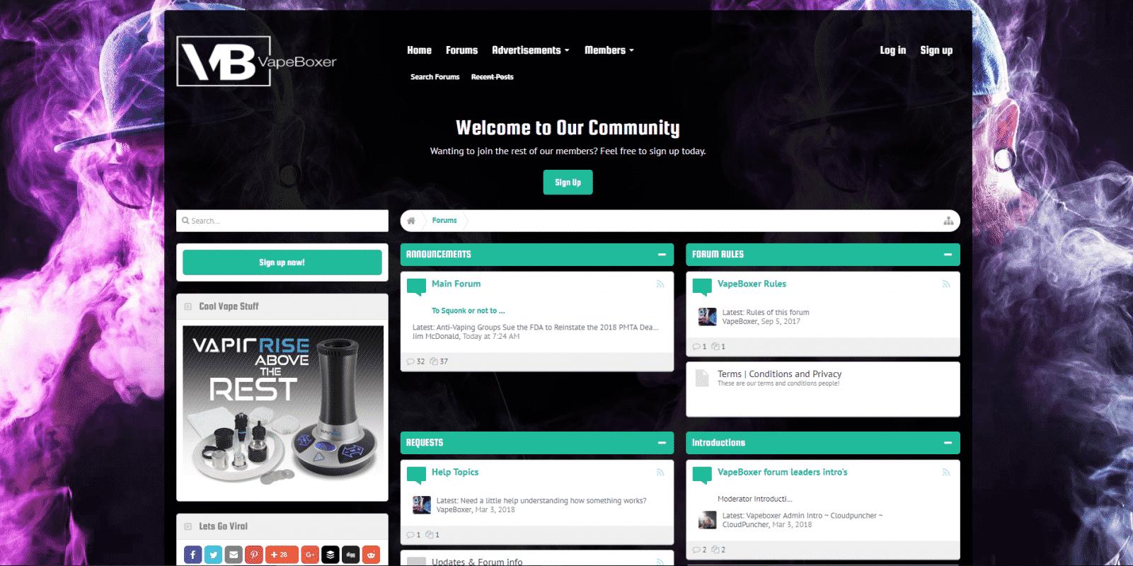 vapeboxer.com website design