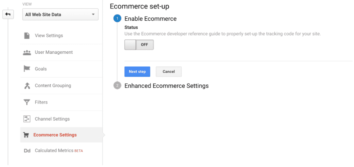 Choose 'E-commerce Settings
