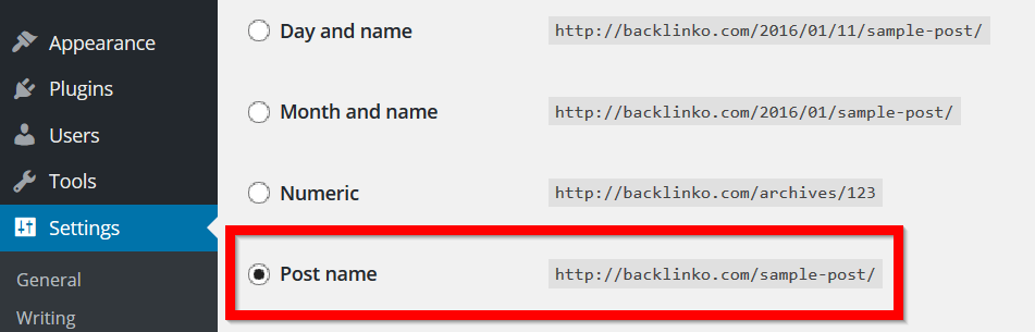 wordpress URL permalinks